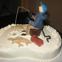 Ice Fishing Cake Yellow cake with whipped ganache filling, iced in buttercream. The figure and misc items are all modeling chocolate. That's my first (...