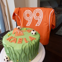 Soccer Theme B-Day Cake Neighbor's daughter wanted a soccer themed cake for her birthday. Her mom wanted something a little nicer. I combined the best of both...