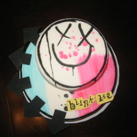 Blink-182 Neighbor's daughter wanted a Blink-182 cake for her 17th birthday This is based off their album cover.