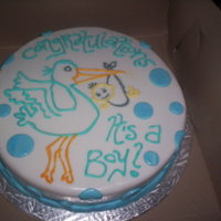 Baby Shower White fondant with blue hand drawn stork