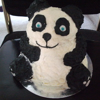 Panda!! A tradition for a frst birthday! (he got covered in black dye!!)