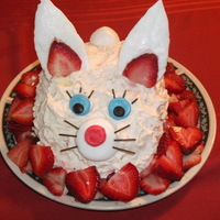 Bunny 2!!!! So cute! All decked out for easter dinner with strawberries. Made with buttercream, fondant ears and eyes, marshmallow tail!