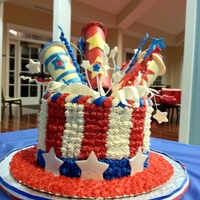 Exploding Uncle Sam Hat  I made this cake for a 4th of July Festival Committee Thank You Party this week. I found lots of inspiration here on Cake Central..Thank...