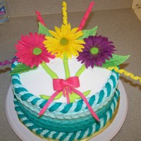 "My Birthday Cake  of course the family expects me to make my own birthday cake! My first attempt at the ""petal effect"" . Gumpaste Gerbera Dasies,..."