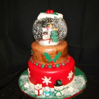 Snow Globe   Snow man snow globe for my family Christmas celebration. Cake is eggnog with rum buttercream covered in rum flavored fondant.