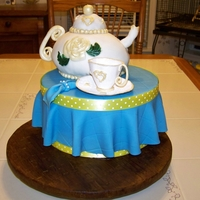 Teapot  teapot made with wilton ball pan - sugar paste tea cup. I used a cake dummy for the table - I wanted something big, but not so much cake....