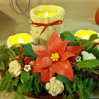 Christmas Candle Cake With Gumpaste Flowers I Used Real Greenery From My Yard And Battery Tea Lights But The Flowers Are Hand Made The Christmas Candle cake with gumpaste flowers. I used real greenery from my yard and battery tea lights, but the flowers are hand made. The...