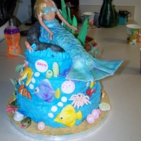 Mermaid & Friends  1st birthday cake for grandbaby. Mermaid tail is gumpaste and luster dust. Creatures are gumpaste, a few made using candy molds, but most...