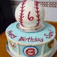 Baseball Birthday Cake A baseball cake for a special boy. I just piped all the decorations with buttercream because it's yummy! I hated having to put that...