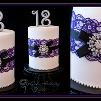 Lace & Bling 18Th My first Double-Barrel cake! Not as hard to cover with fondant as I thought it would be. PHEW! An elegant and very girly, blingy cake for a...