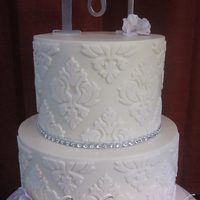Small Wedding Cake. *6 & 8inch buttercream cake, damask achieved with marvelous molds.