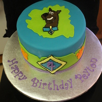 Scooby Doo! I drew out Scooby and traced the details with piping gel.