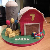 Barn And Silo Birthday Fun! Barn and silo farm cake for a little boy. All edible. All fondant decorations. The roof was a mix of 50/50 gumpaste fondant.