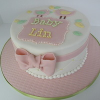 Birdie Theme Baby Shower Very feminine birdie themed baby shower cake. Pastel colors were a must. Diamond pattern and sugar pearls. All fondant. Invitations had a...