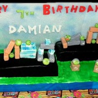 Playable Angry Birds Cake! Structure is made with very strong foam boards. Home-made slingshot. Blocks are made with RKT covered in fondant and All Characters were...