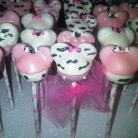 "Minnie Mouse Zebra Cake Pops Inspired by ""Mom's Killer Cakes & Cookies"" website."