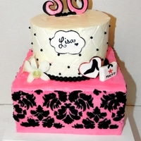 A Chic, Shopper And Stiletto Type Of Girl... All buttercream with fondant accents. Damask pattern is stenciled with royal icing. Orchids are real...Thanks to klpint for inspiration on...