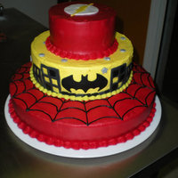 Superhero Themed Cake another cake for a friend..... kids 5th Birthday, and he LOVES The Flash :)