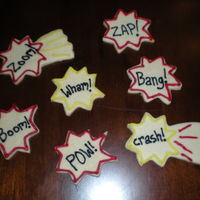 Comic Book Cookies I did these to go along with a Superhero Cake I did for a 5 year old's birthday party... at which he was dressed as The Flash hahah it...