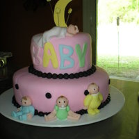 Pink And Black Baby Shower Cake