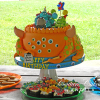Monster's Inc Birthday Cake The Monster's Inc characters are made of gum paste and then painted. The main monster cake was inspired by a similar, although not the...