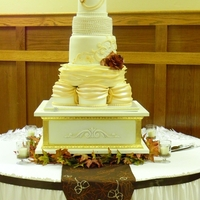 Antique Wedding 1920's inspired wedding cake with everything edible excluding the cake topper.