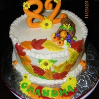 Fall Birthday Pumpkin Cake with Spiced Cream Cheese Frosting.Fondant leaves and numbers.