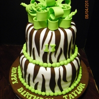 Zebra Striped Birthday  This was a picture given to me to recreate, so not sure who should get original credit on design.Bottom Tier: Vanilla Cake/ Cream CheeseTop...