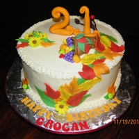 Fall Birthday Chocolate Cake, Peanut Butter Heaven Filling, Vanilla Butter Cream. Fondant leaves and decorations