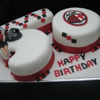 50 Years Old! This 50 year cake was decorated for a man who owns a shoe shop & loves Milan FC