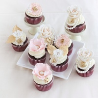 Romantic Pink And Gold Bridal Shower Cupcakes