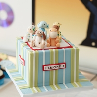 Stuffed Animal Party   Gumpaste figurines on top of Red Velvet Cake with White chocolate Ganache Frosting