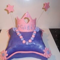"My First Pillow Princess Cake Gosh I loved doing this. It was my very first pillow cake. Double 7"" layer butter cake with bc filling. Fondant all over the top. The..."