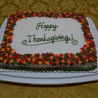 Happy Thanksgiving Autumn Leaves Cake November 23, 2014 - My Mom baked and I decorated this Happy Thanksgiving Autumn Leaves Carrot Cake for our Church's Thanksgiving...