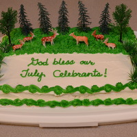 God Bless Our July Celebrants With Deer July 12, 2014 - I baked and decorated this Deer and Forest July Celebrants Carrot Cake for our July Celebrants and my Birthday Celebration...