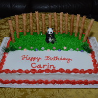 Panda Birthday Cake For Carin  February 1, 2014 - I decorated this Panda Birthday Cake for Carin's Birthday Party. I used wafer rolls for the bamboo in the...
