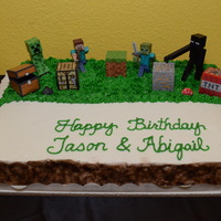 Happy Birthday Jason And Abigail Minecraft Cake  November 9, 2014 - My Mom baked and I decorated this Minecraft themed Birthday Carrot Cake for Jason's and Abigail's Birthday....