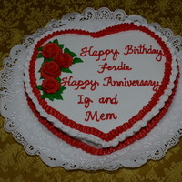 Valentine's Birthday And Anniversary Cake February 15, 2014 - I decorated this joint cake celebrating the Valentine's Birthday of my Dad and Valentine's Anniversary of Ig...