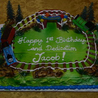 Happy 1St Birthday And Dedication Jacob With Thomas The Steam Engine   August 2, 2014 - My Mom baked and I decorated this 1st Birthday and Dedication Carrot Cake for Jacob's Birthday Celebration.