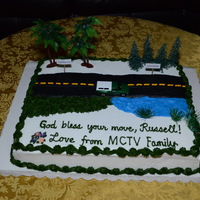 Farewell Cake For Russell February 1, 2014 - I decorated this Farewell Cake depicting Russell's pick-up truck moving from California to Louisiana, for our...