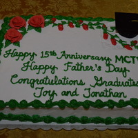 Church Anniversary, Father's Day, And Graduation Cake I decorated this Church Anniversary, Father's Day, and Graduation Carrot Cake for my Church's Triple Celebrations.