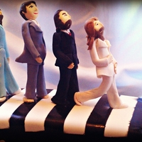 "Abbie Road ""the Beatles"" This was by far the most challenging cake I made this weekend, I love every hour I spent making the Beatles out of fondant. My mom said..."