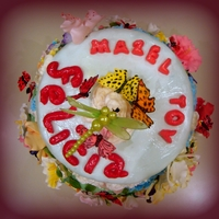 Bat Mitzvah Cake:  Meadow And Sky With Flowers And Butterflies