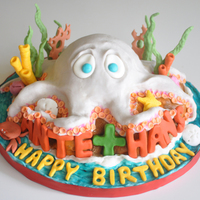 Octopus Birthday Cake Chocolate cake, raspberry filling, cream cheese frosting... fondant and modeling chocolate decorations.