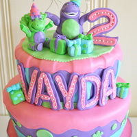 Barney Cake Chocolate cake with Oreo Buttercream, Confetti Cake with Confetti Frosting... Fondant wrapped and decorated.