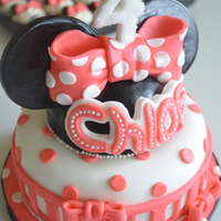 Minnie Mouse Cake & Cupcakes Chocolate cake and cupcakes with cream cheese frosting, fondant decorations, rice cereal, modeling chocolate, melted chocolate