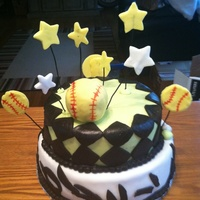 Baseball Theme Cake   Chocolate cake with chocolate butter cream icing covered in MMF.