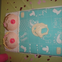 Twins Baby Shower! This was all made with buttercream. I used Fondant for the baby blanket :)