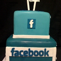 Facebook Cake Marble cake with buttercream frosting, and fondant decoration.