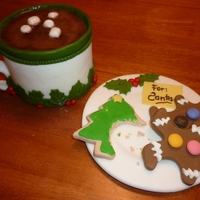 For Santa All elements pictures are completely handmade from fondant, including the smarties and plate! The mug is hot chocolate ganache cake covered...